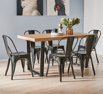 Bridge 7 Piece Dining Set With Replica Tolix Chairs