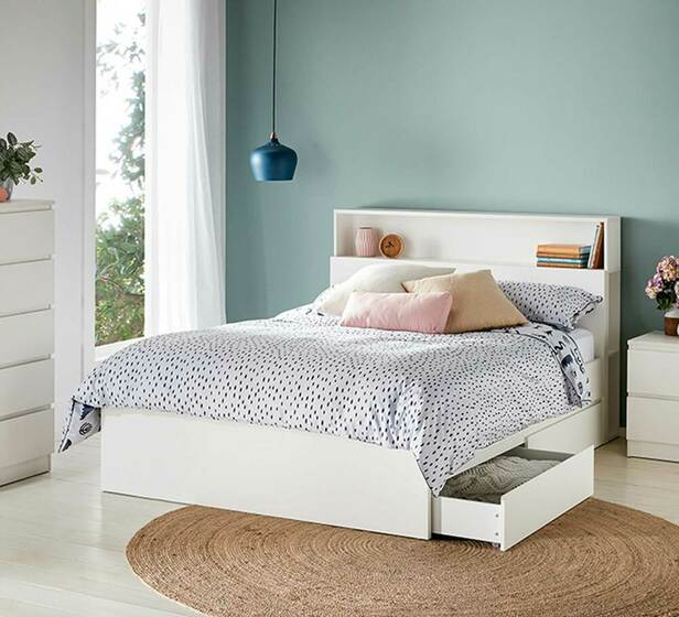 Como Double Bed With Storage In White