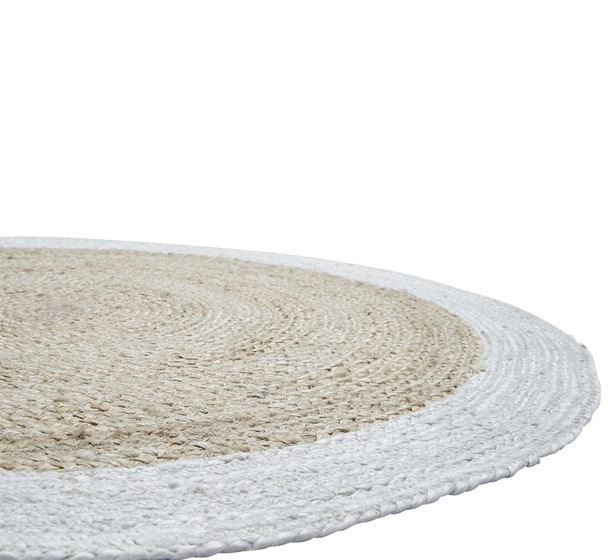 Hazel Small Jute Rug In White, Small Round Straw Rug