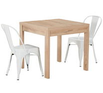 Havana 3 Piece Dining Set With Replica Tolix Chairs