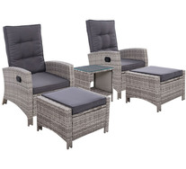 Keelan 5 Piece Outdoor Recliner Set