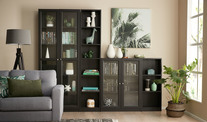Kobi Large Wide Bookcase With Glass Doors