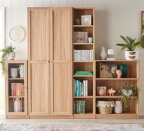 Kobi Large Wide Bookcase with Panelled Doors
