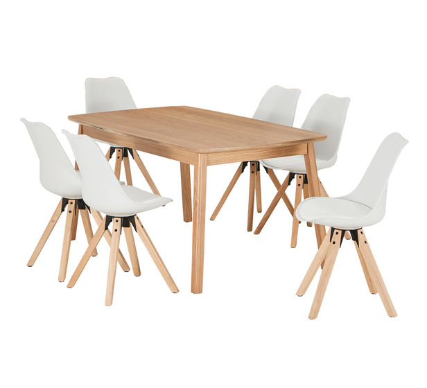 Retro 7 Piece Dining Set With Dimi Chairs Fantastic Furniture