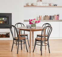 Tara 5 Piece Dining Set with Replica Bentwood Chairs