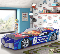 No.6 Turbo Single Racing Car Bed & Mattress