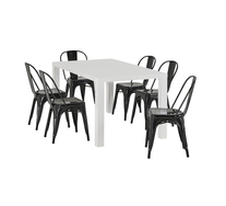 Verona 7 Piece Dining Set with Replica Tolix Chairs