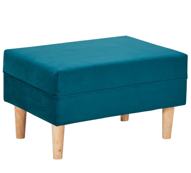 Wingman Ottoman With Oak Legs